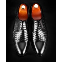 SH024-Fashion Black Leather Shoes